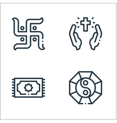 Spiritual line icons linear set quality line set vector