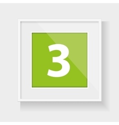 Square frame with number three vector