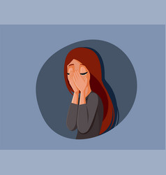 suffering woman covering her face while crying vector image