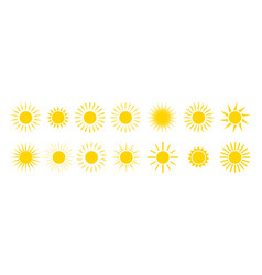 sun icons yellow summer sunrise and sunset vector image