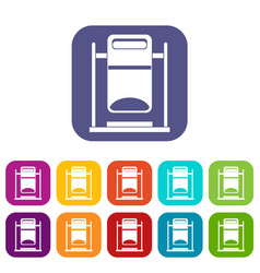 Swinging trashcan icons set vector