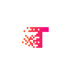 t letter pixel logo icon design vector image