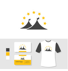 tent logo design with business card and t shirt vector image