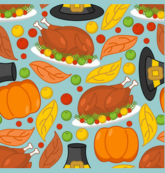 thanksgiving background roasted turkey and fresh vector image
