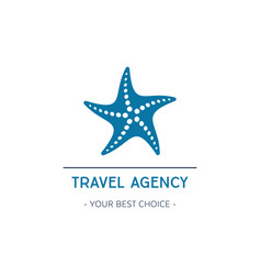 travel agency logo design with starfish vector image