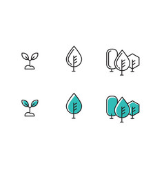 tree outline icons vector image