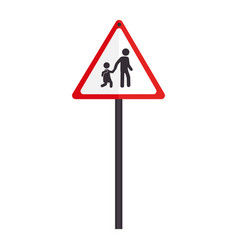 Triangle contour road sign for students school vector