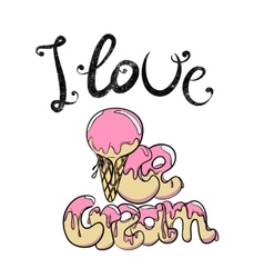 Vintage ice cream cone with pink topping vector image