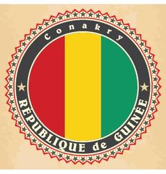 Vintage label cards of Guinea flag vector image