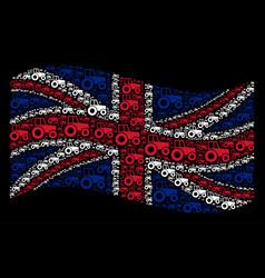 Waving great britain flag mosaic of wheeled vector
