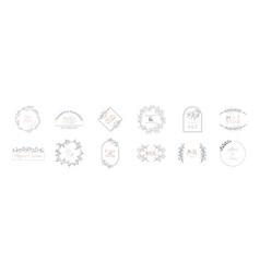 wedding monogram modern collection minimalistic vector image