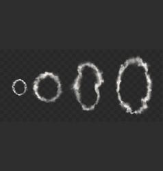 white smoke rings from cigarette pipe or vape vector image