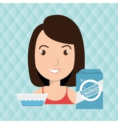 woman cartoon detergent bucket water vector image