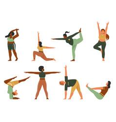 woman doing yoga pose set cartoon happy plus size vector image