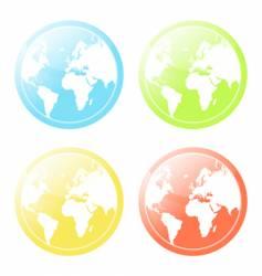 world map glossy icons set vector image