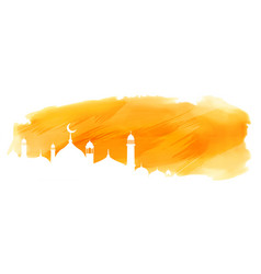 yellow watercolor islamic banner with mosque vector image
