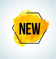 Yellow watercolor new item label vector