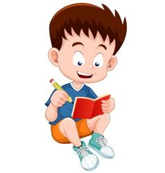 Boy reading open book vector image