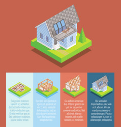 cottage construction flat isometric poster vector image vector image