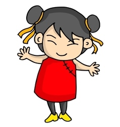 Cute girl of chinese character vector