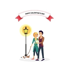 Happy Valentine Day Couple Walk with Dog vector image vector image