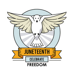 juneteenth day dove fly celebrate freedom label vector image