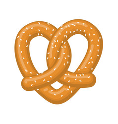 love pretzel snack heart food lover sign vector image vector image