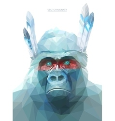Monkey polygonal eps 10 vector image