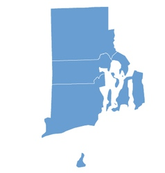 State Map of Rhode Island by counties vector image vector image