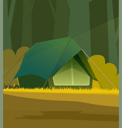 tent in forest vector image