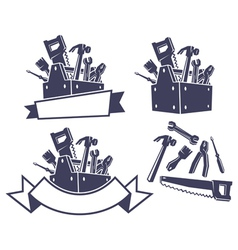 Toolbox with tools design elements vector image vector image