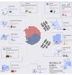 Dot And Flag Map Of Republic Of Korea Infographic vector image