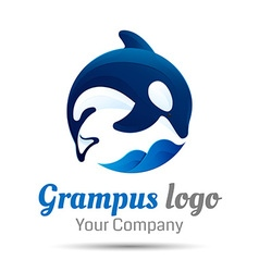 Killer whale Jumping over sea wave logo design vector image