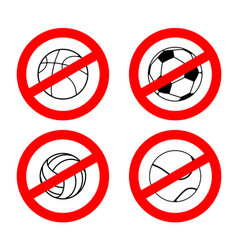 Stop sport games prohibited football red vector