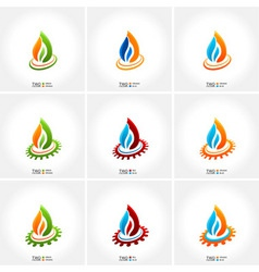 vector business emblem fire water set icon vector image
