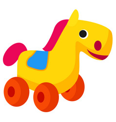plastic colorful horse toy on wheels isolated vector image vector image