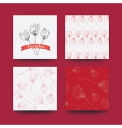 Set flower and patterns vector image