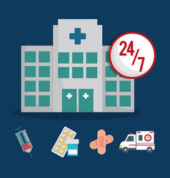 building clinic service healthcare 24-7 vector image vector image