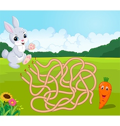Help bunny to find way to carrot in the maze vector image