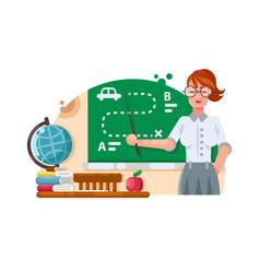 school teacher stands near blackboard vector image