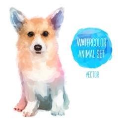 set of watercolor Cute dog vector image