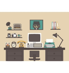 334retro workspace vector image