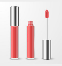 3d realistic closed opened red pink lip vector