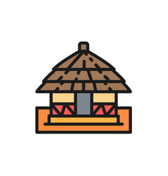 African local traditional house flat color vector