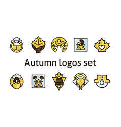 autumn logos set maple leaf products for vector image