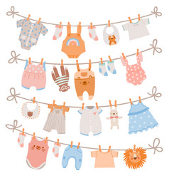 baby clothes on rope newborn children apparel vector image