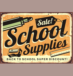 back to school retro tin sign design layout vector image