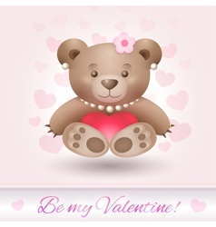 beautiful teddy bear girl in love vector image
