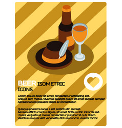 Beer color isometric poster vector