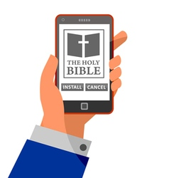 Bible application about to install on smartphone vector